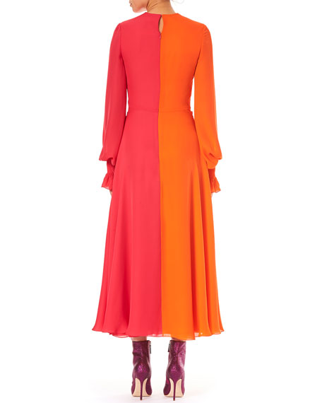 Image 2 of 3: Deep-V Long-Sleeve Colorblocked Silk Long Dress