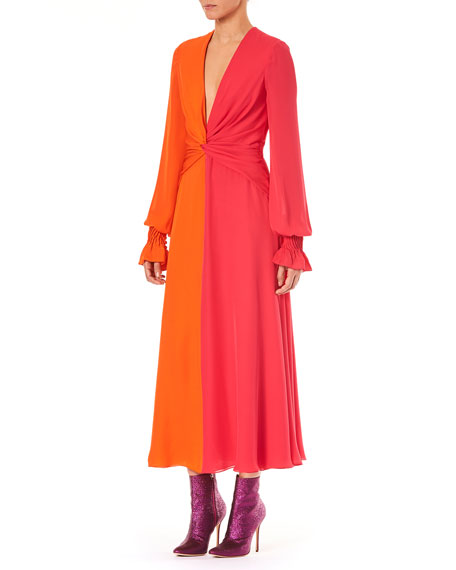 Image 3 of 3: Deep-V Long-Sleeve Colorblocked Silk Long Dress