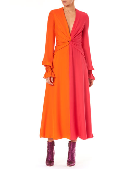 Image 1 of 3: Deep-V Long-Sleeve Colorblocked Silk Long Dress
