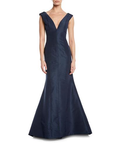 Pleated-Shoulder V-Neck Gown