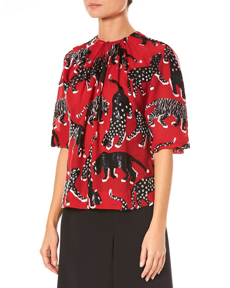 Wildcat-Print Short-Sleeve Metallic Silk Blouse