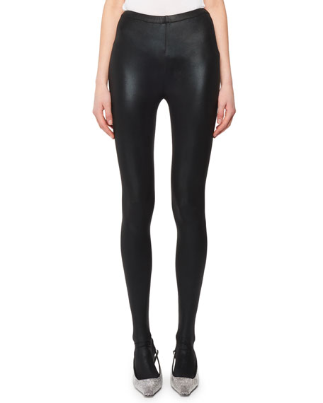 Coated Stretch-Jersey Stirrup Leggings