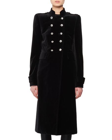 Double-Breasted Stand-Collar Velvet Military Coat