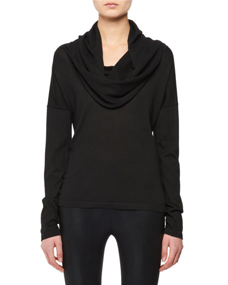 TOM FORD Hooded Cowl-Neck Cashmere-Silk Knit Sweater