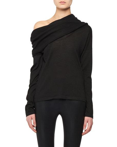 Draped Neckline Long-Sleeve Cashmere-Silk Knit Sweater