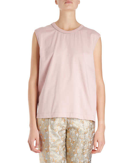 Dries Van Noten Hailstone Sleeveless Top w/ Rhinestone