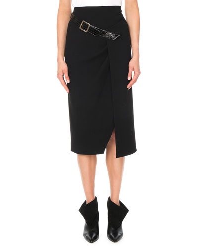 A-Line Fitted Wool Crepe Midi Skirt w/ Buckle Detail