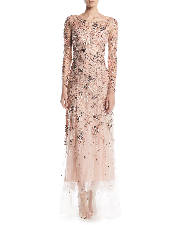 Jenny Packham Comet Bateau-Neck Long-Sleeve Beaded Evening Gown w ...