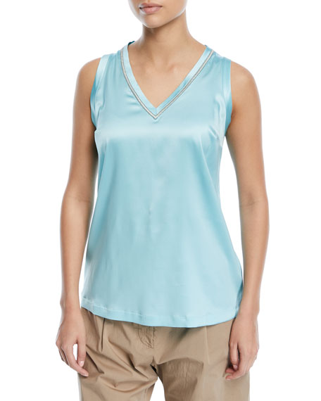 Brunello Cucinelli Silk V-Neck Tank with Metallic Stitching