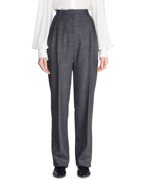 Brina High-Waist Tapered-Leg Wool-Blend Pants