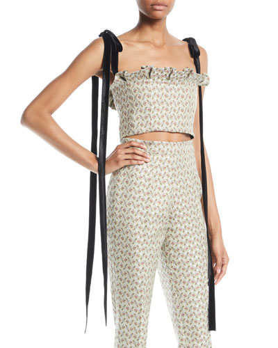 Floral-Jacquard Bustier Cropped Top w/ Velvet Ties