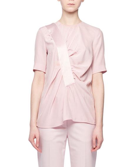 Asymmetric Shirred-Front Short-Sleeve Silk Top