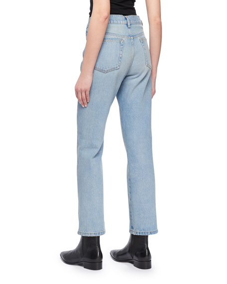 Image 3 of 3: High-Waist Cropped Straight-Leg Jeans w Distressing
