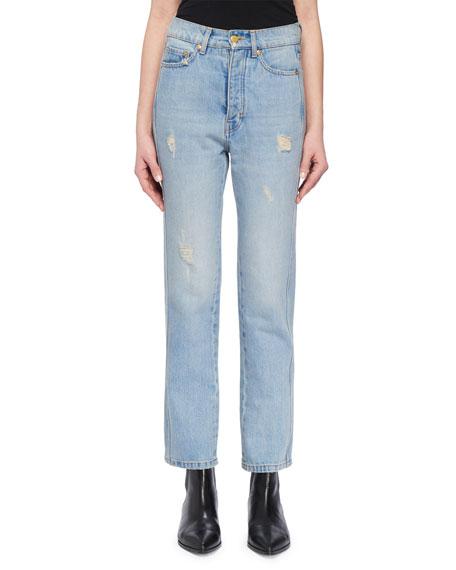 Image 1 of 3: High-Waist Cropped Straight-Leg Jeans w Distressing