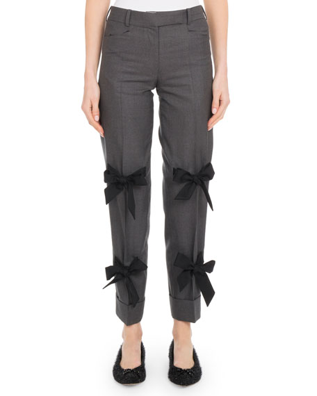 Skinny Stretch-Wool Pants w/ Bow Details