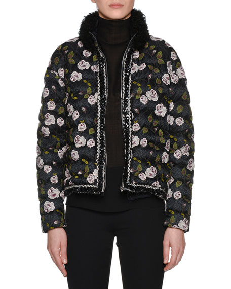 Fur-Collar Multi-Floral Lace-Embroidered Short Puffer Coat