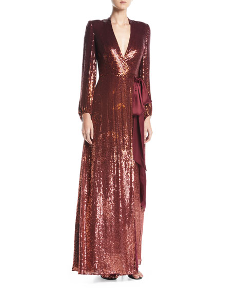 Jenny Packham Aries V-Neck Long-Sleeve Wrap Sequin Evening Gown