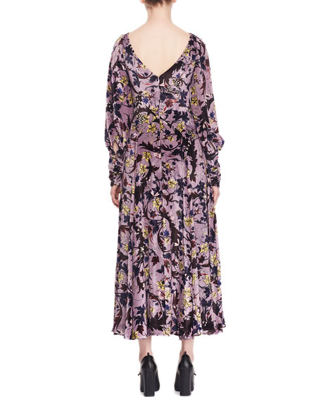Image 2 of 2: Erdem Carwen Knot Keyhole-Front Full-Sleeve Velvet Voile Jacquard Evening Dress