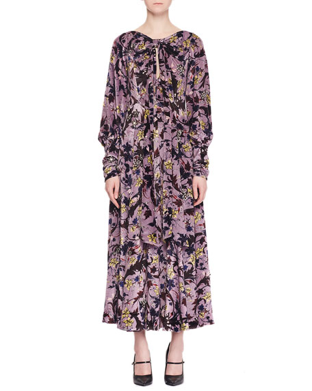 Image 1 of 2: Erdem Carwen Knot Keyhole-Front Full-Sleeve Velvet Voile Jacquard Evening Dress