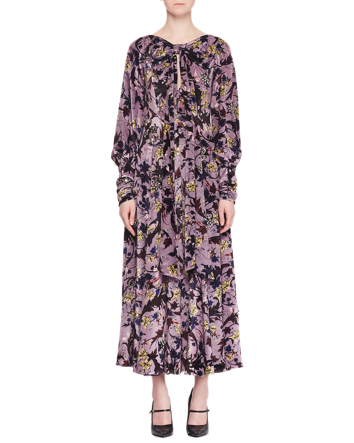 Erdem Carwen Knot Keyhole-Front Full-Sleeve Velvet Voile Jacquard Evening Dress