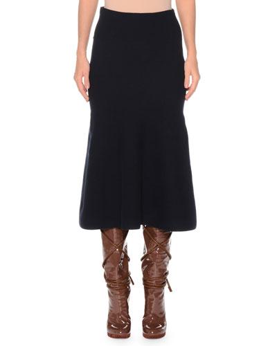 A-Line Extra Fine Wool-Blend Midi Skirt