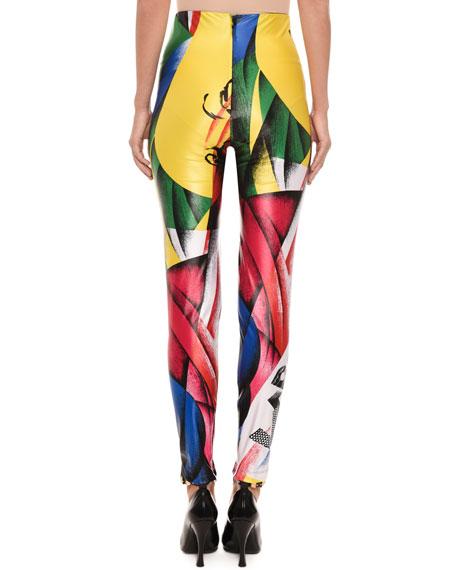 Clash-Print Fitted Lycra® Leggings
