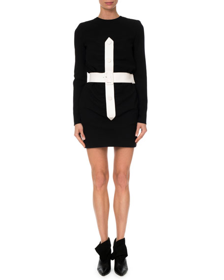 Givenchy Crewneck Long-Sleeve Button-Placket Self-Belt Wool Dress