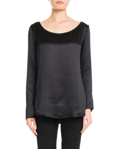 Boat-Neck Long-Sleeve Silk Satin Shirt