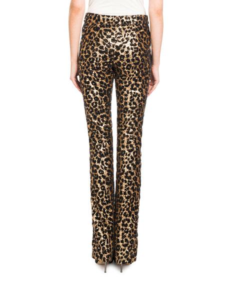 Redemption Straight-Leg Tux-Stripe Leopard-Paillette Pants