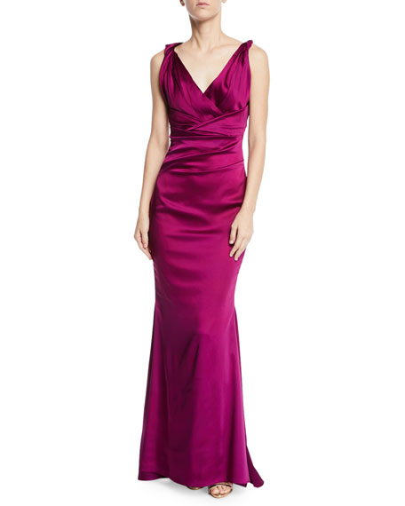 Talbot Runhof Rotura Sleeveless Draped-Waist V-Neck Gown