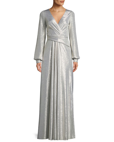 Talbot Runhof Rowley1 V-Neck Long-Sleeve Wrap-Design Metallic Pleated Jersey Evening Gown