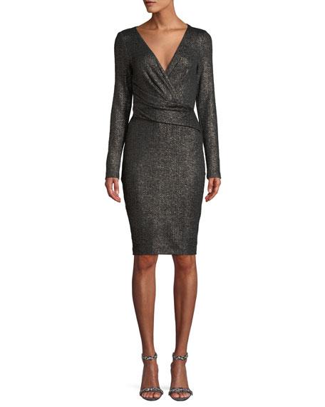 Talbot Runhof Rodigo Long-Sleeve V-Neck Glitter-Jersey Fitted Cocktail Dress