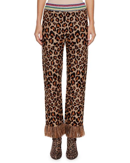 Leopard Intarsia Knit Straight-Leg Pants W/ Fringe Cuff in Neutrals