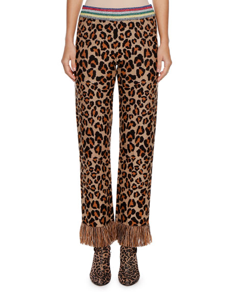 Alanui Leopard Intarsia Knit Straight-Leg Pants w/ Fringe