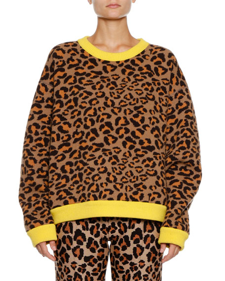 Alanui Leopard-Intarsia Crewneck Pullover Sweater w/ Leather