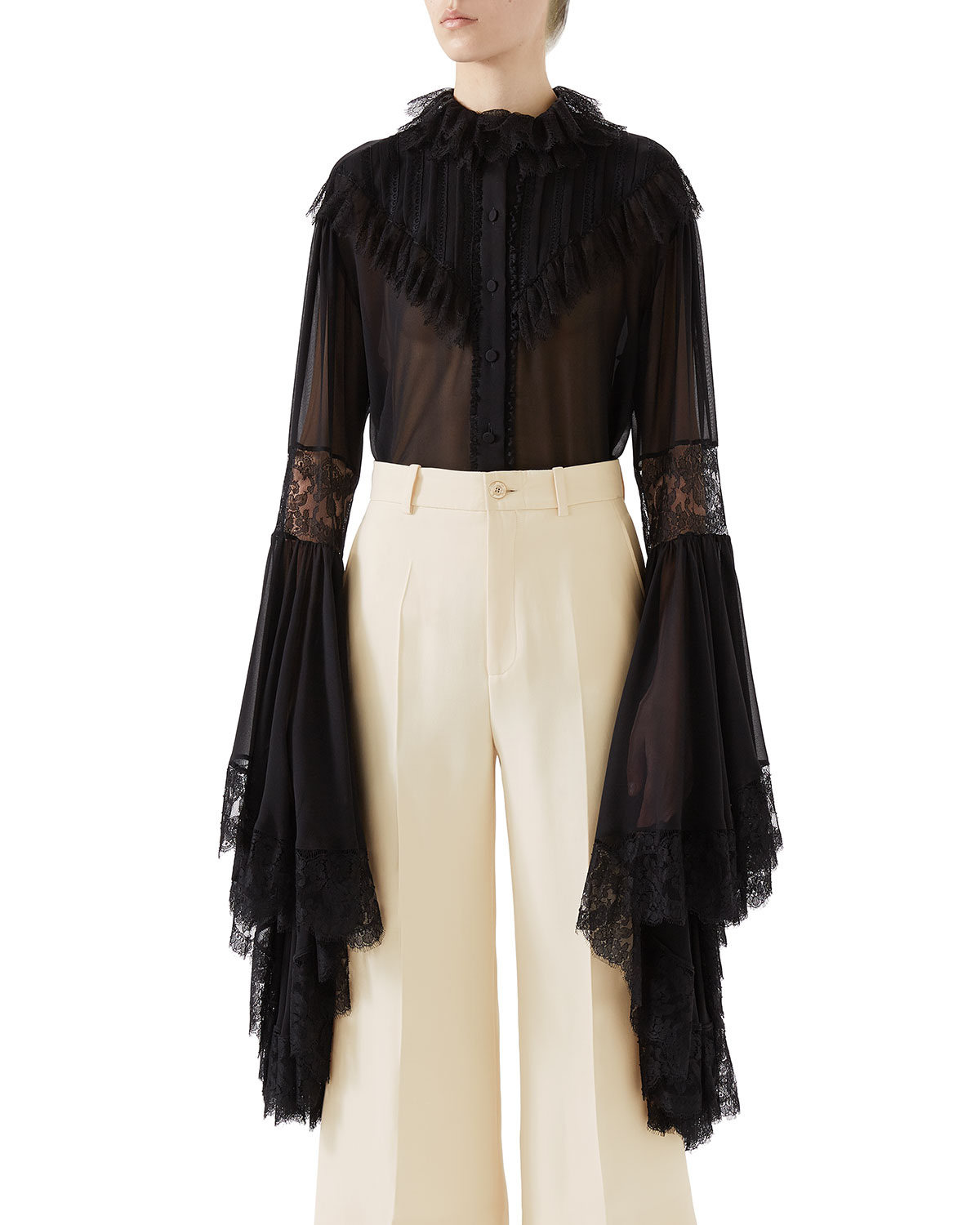 d739aa83 Gucci Silk Georgette & Lace Button-Front Shirt w/ Exaggerated Sleeves
