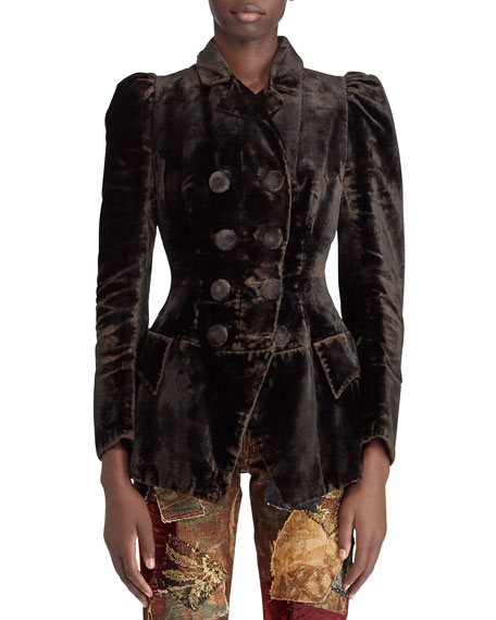 Ralph Lauren Collection 50th Anniversary Bettie Double-Breasted Velvet Jacket w/ Puff-Sleeves
