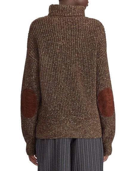 Ralph Lauren Collection 50th Anniversary Turtleneck Cashmere/Linen Mouline Sweater w/ Suede Elbow Patch
