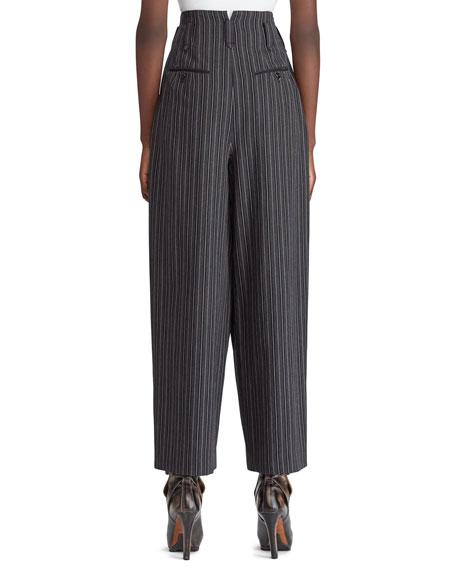 Ralph Lauren Collection 50th Anniversary Celesse High-Waist Tapered-Leg Textured Morning Stripe Wool Pants