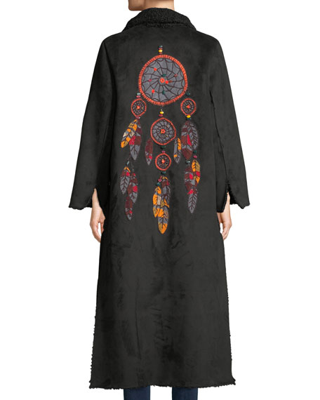 Long Tie-Front Faux-Suede Coat w/ Sun-Catcher Embroidery