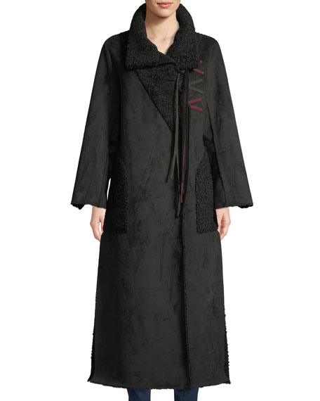 Amanda Baldan Long Tie-Front Faux-Suede Coat w/ Sun-Catcher