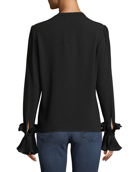 Button-Front Plisse Pleated Cuff Crepe Blouse