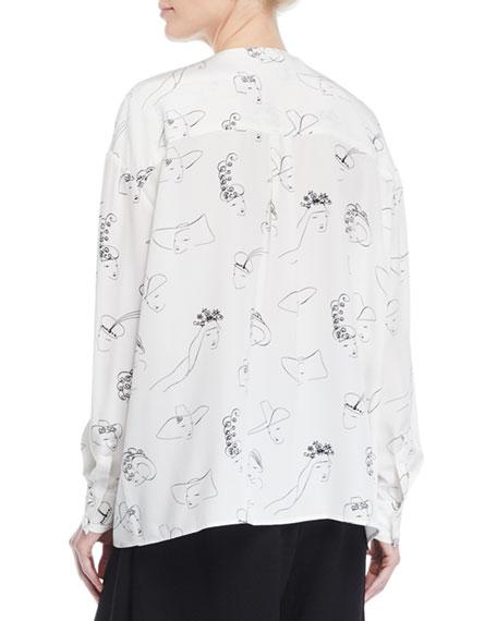 Co Long-Sleeve Face-Print Collarless Silk Tunic Blouse