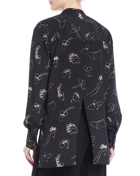 Co Face-Print Long-Sleeve Split-Back Silk Tunic Blouse