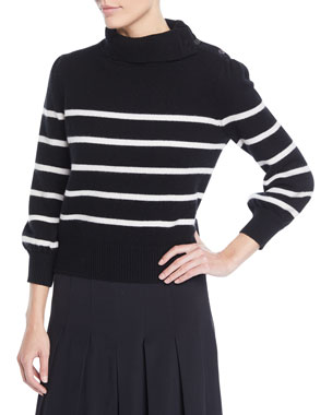 73fcd6ba23 Co Funnel-Neck Striped Wool-Cashmere Sweater w  Button Shoulder