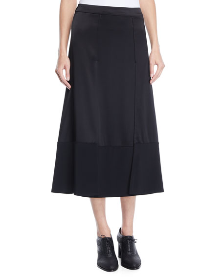 Co Satin and Stretch-Crepe Paneled Midi Skirt