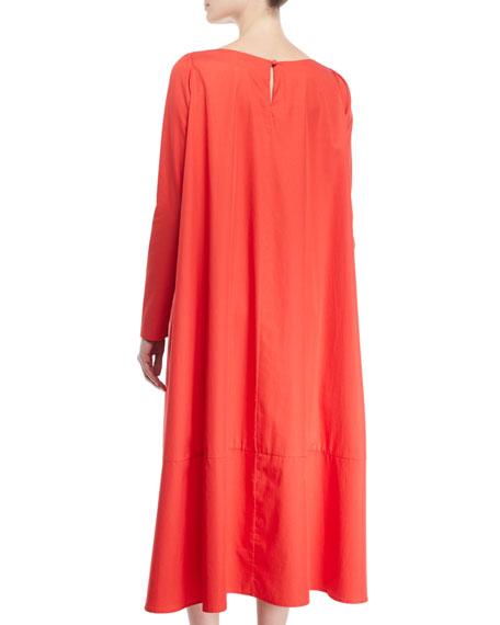 Co Boat-Neck Long-Sleeve A-Line Light-Twill Cotton Midi Dress