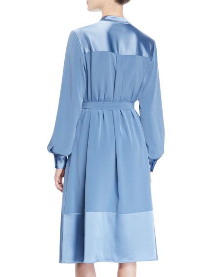 Co Button-Shoulder Long-Sleeve Stretch-Crepe Dress w/ Satin
