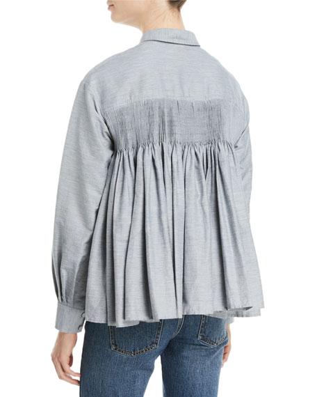 Co Button-Front Long-Sleeve Pleated-Back Slub Linen Swing Shirt