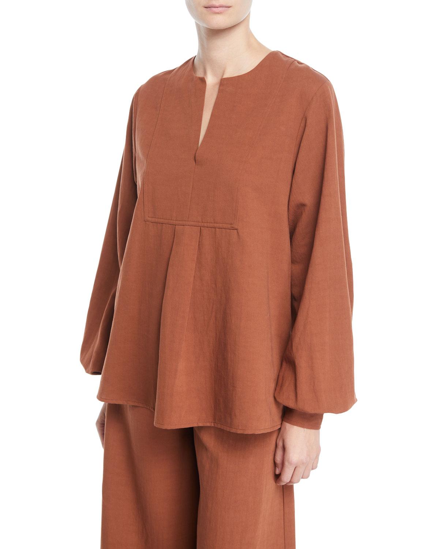7cf485dc357 Co Split-Neck Long-Sleeve Tropical Cotton Tunic Blouse | Neiman Marcus